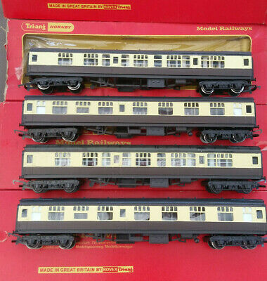 4 Triang Hornby GWR Repainted Chocolate And Cream Composite Coaches • 42.39€