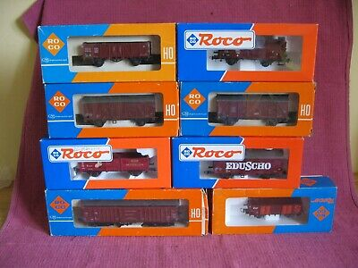 Collection 8 Boxed ROCO HO Scale Brown Freight Goods Wagons Model Railway Train • 33.24€