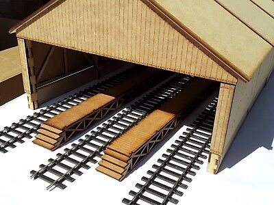 Laser Cut O Gauge Railway Wooden 3 Track Carriage Shed Kit Pack Of 3 Sections • 66.07€