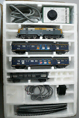Vintage HO/OO Model Dutch Passenger Train Loco, 3 Carriages, Power, Track • 110.60€