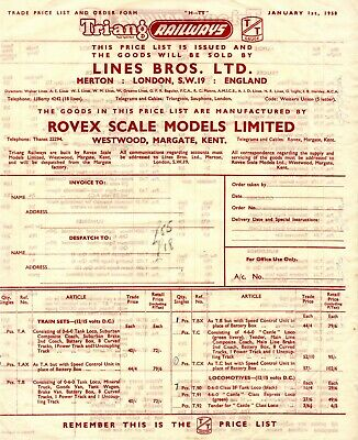 1958 Trade Price List For Tri-ang TT • 3.35€