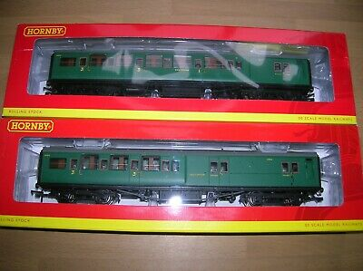 Hornby R4341A + R4342B Two SR Maunsell Brake Coaches Malachite Green Mint Boxed • 78.04€