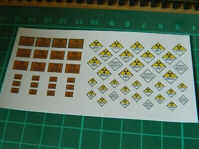 Radioactive Hazchem Labels For OO Accura Scale Bachmann Flask FNA PFA Wagons • 6.08€