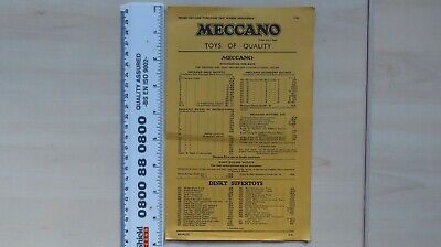 Meccano Toys Of Quality Price List Includes Dinky & Hornby Dublo 1958 • 4.48€