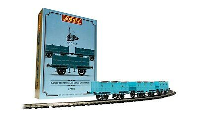 Hornby R40102 Open Carriage Pack Containing 3x Open Carriages Stephensons Rocket • 80.92€