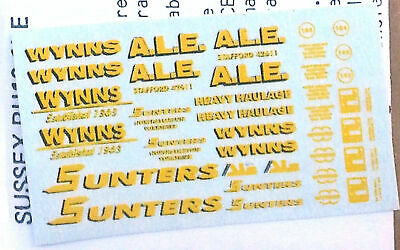Heavy Haulage Wynns Sunters AL E NT5 Colour N Gauge Scale Langley Models Decals • 8.41€