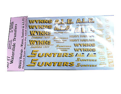 Wynns Sunters ALE 1:50 Waterslide Transfers 50-T7 Colour O Scale Langley Decals • 14.53€