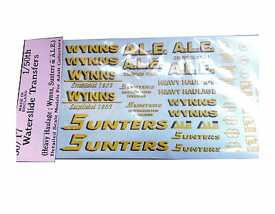 Wynns Sunters ALE 1:50 Waterslide Transfers 50-T7 Colour O Scale Langley Decals • 14.14€