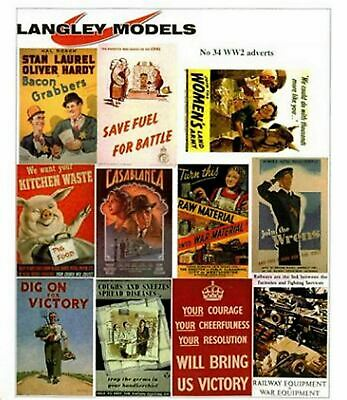 WW2 Posters Paper Copy Enamel Signs SMF32 Colour OO Scale Models Decals 1/76 • 3.91€