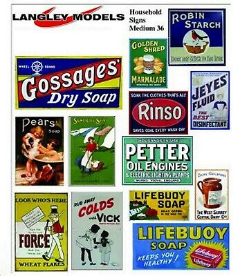 Household Ads Small Paper Copy Enamel Signs SMF37 Colour OO Scale Models Decals • 3.91€