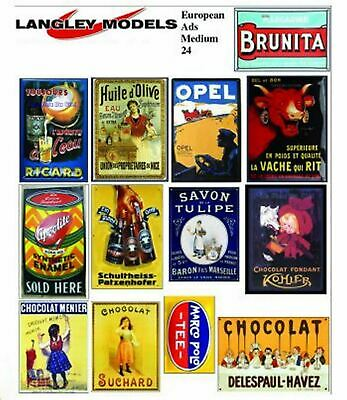 European Ads Small Paper Copy Enamel Signs SMF25n Colour OO Scale Models Decals • 3.91€