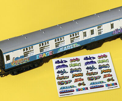 Model Railway GRAFFITI Stickers Decals HO OO Gauge Ideal For Coaches, Buildings • 7.66€