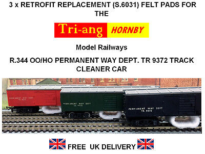 3 X Replacement Track Cleaning Felt Pads For Tri-ang Hornby R.344 Track Cleaner • 2.76€