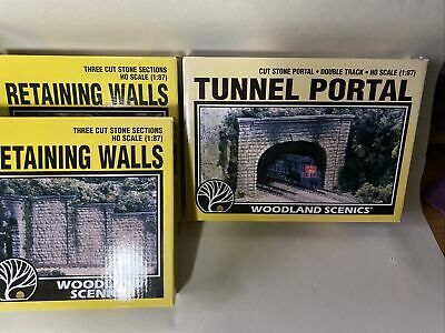 Woodland Scenics C1257 Double Tunnel Portal & C1259 Retaining Walls Stone 1:87 • 28.02€