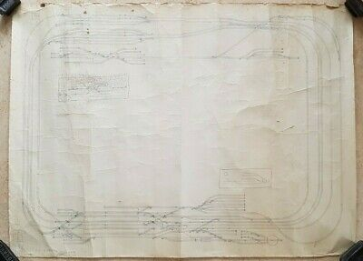 Vintage Large Tatty Hand Drawn Model Railway Proposed Track Layout • 22.54€