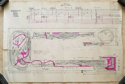 Vintage Large Underground Railway Lines Automatic Control System Layout Diagram • 62.37€