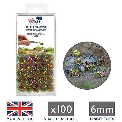 WWS Static Grass Tufts X 100 – Mixed Flowers, 6mm – Model Railway Wargame • 7.75€