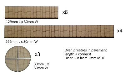 OO Gauge Pavement Sections With 12 Corner Pieces - Over 2 Metres Of Pavement  • 7.65€