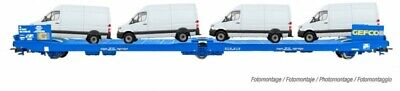 Electrotren E1658 Wagon Plat Articule, Gefco, 3 Essieux, Charge Fourgons • 80€