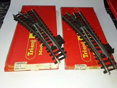 Pair Of Triang 4 Track R490 OO Gauge Left Hand Points Rail Track (Original Box) • 1.11€