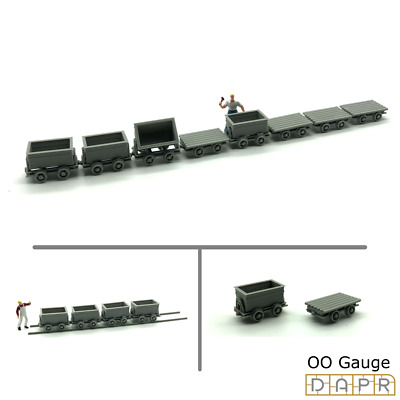 DAPR - OO Gauge Model Scenery Building Kit- Mining Quarry Carts & Track - 1/76 • 21.87€