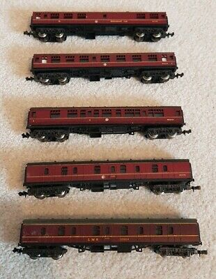 N Gauge Set Of 5 Lima Steam Buffet Restaurant LMS Car Coach Carriages RED MAROON • 51.96€
