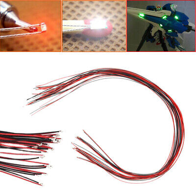 10Pcs 0402 Pre-soldered Micro Litz Wired Leads Red SMD Led Lamp 200mm Long DIY • 2.71€