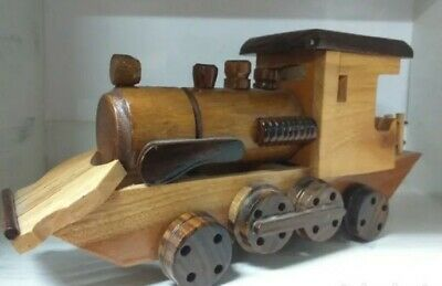 Hand Made Wooden Tren Locomotora Locomotive Car Train No Box Coche • 10€