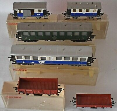 (1121) 6 Pieces Fleischmann Rolling Stock, Coaches & Wagons, Ho/00 Used • 35.75€