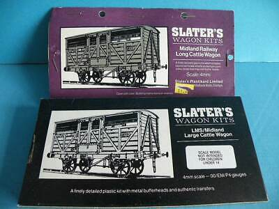 2 X Boxed Slater's Plastic 4mm Wagon Kit LMS/MR Large Cattle Wagon + Wheels • 25.70€