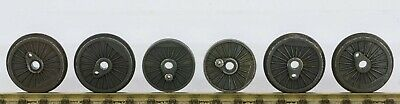 6x TRIANG TT 3mm DRIVING WHEELS CENTRES SOLID WITHOUT PINS NO SPOKES SEE PHOTOS. • 10.53€