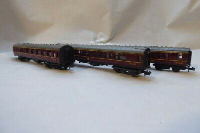 Trio Of N Gauge Trix BR BFK X 2 And 1 X FK Coaches In Lined Maroon Livery • 11.29€