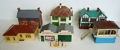 Vintage Airfix Trackside, 1-6 1950's Completed Kits, Bungalow, Service Station, • 67.80€