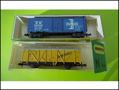 Echelle N Minitrix 3166 & 3202 Lot 2 Wagons Marchandises Train Electrique • 16€