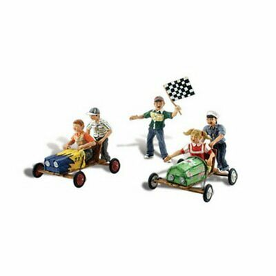 Woodland Scenics Scenic Accents Downhill Derby Racing 5 Children W2 Carts HO ... • 30.24€