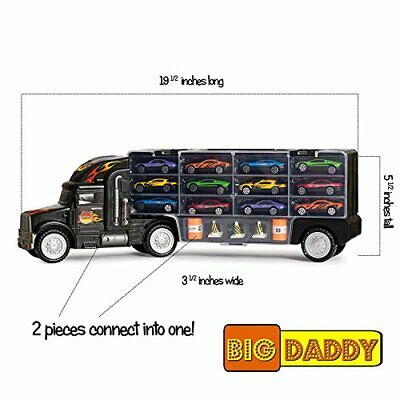 Big Daddy Tractor Trailer Car Collection Case Carrier Transport Toy Truck For... • 60.64€