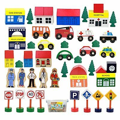 On Track USA Wooden Train Set Accessories Modern City Town 50 Piece Train Tra... • 54.95€