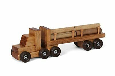 Amish-Made Wooden Semi Log Truck Toy • 63.44€