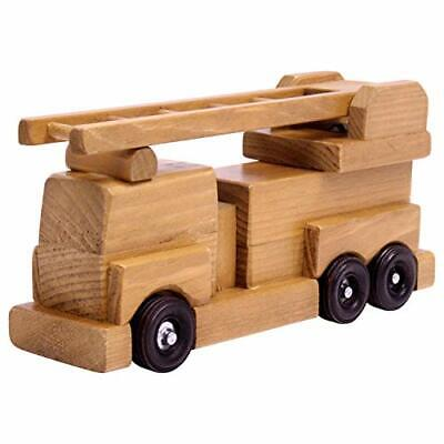 Amish-Made Wooden Toy Ladder Fire Truck Kid-Safe Finish • 61.69€