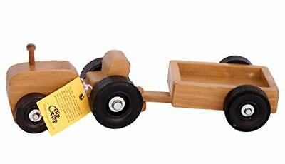 Amish-Made Wooden Toy Tractor And Wagon Set • 60.37€