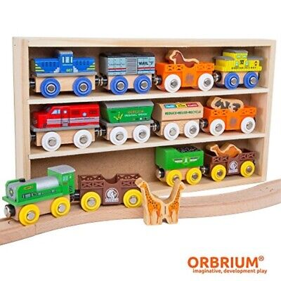 Orbrium Toys 12 (18 Pcs) Wooden Engines & Train Cars Collection With Animals ... • 34.36€