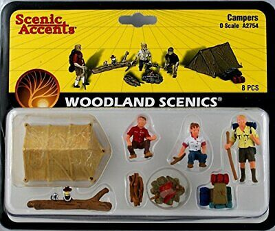 Woodland Scenics Campers (3) W/Tent & Accessories O Scale • 36.79€