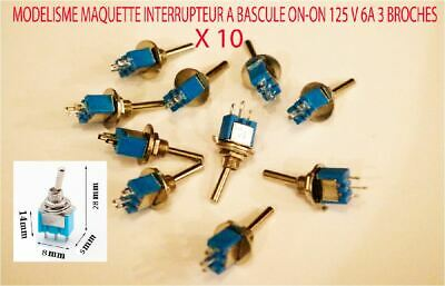 Jouef Lot 10 Mini Interrupteurs A Bascule 2 Position On/On  AC 125v 6a 3 Broches • 9.90€