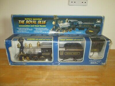 New Bright - The Royal Blue Battery Operated Locomotive And Coal Tender - Rare  • 39.77€
