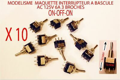 Jouef 10 Mini Interrupteurs A Bascule 3 Position ON-OFF-ON  AC 125v 6a 3 Broches • 9.90€