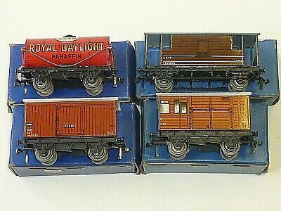 X4 Hornby Dublo D1 Boxed Superb Wagons Vans Tank & Brake Vintage Old 00 Gauge OO • 11.12€