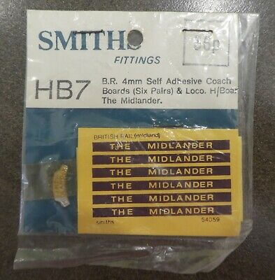 Smiths Fittings Accessories For Oo Model Railway Coaches The Midlander Unused • 1.11€