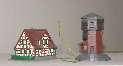 8996 Marklin Built Z-scale Water Tower With Light ,plus Timber Frame  House  • 1.11€