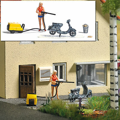 Action Ensemble : Scooter Lavage - Oo Jauge Figurines Busch 7833 • 29.75€