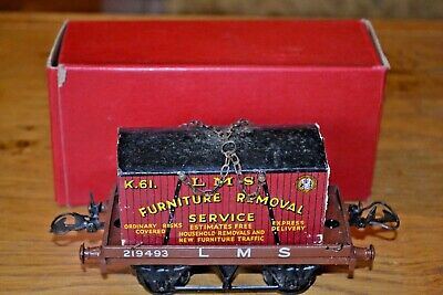 Vintage Boxed HORNBY SERIES Meccano O GAUGE Flat Truck With Container • 111.86€